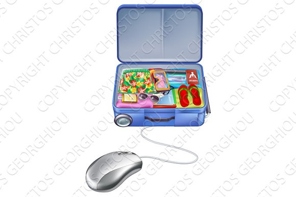 Holiday Vacation Suitcase Mouse Concept