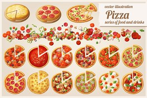 Pizza/ Set of cartoon vector icons