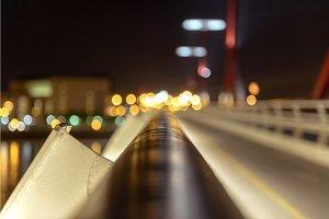Empty bridge at night