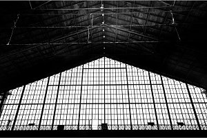 Black and white photo  of a train station in hungary