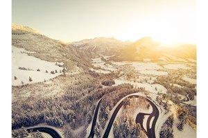 Mountain Road Winding Through The German Alps