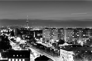 City at night in Hungary in black and white