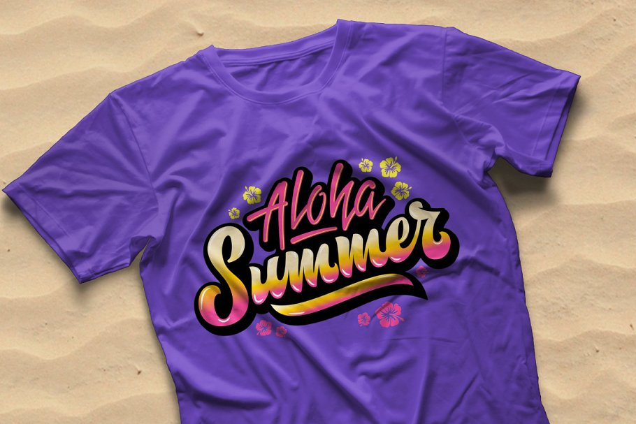Aloha Summer Hand Drawn Lettering