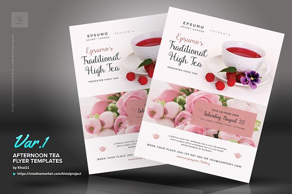 Afternoon Tea Flyer Templates Creative Market