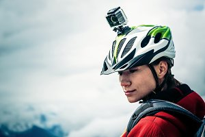 Mountainbiker With Actioncam On Helmet