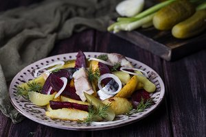 warm salad of potatoes and smoked mackerel