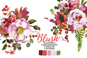 Blush Pink Coral Watercolor Flowers