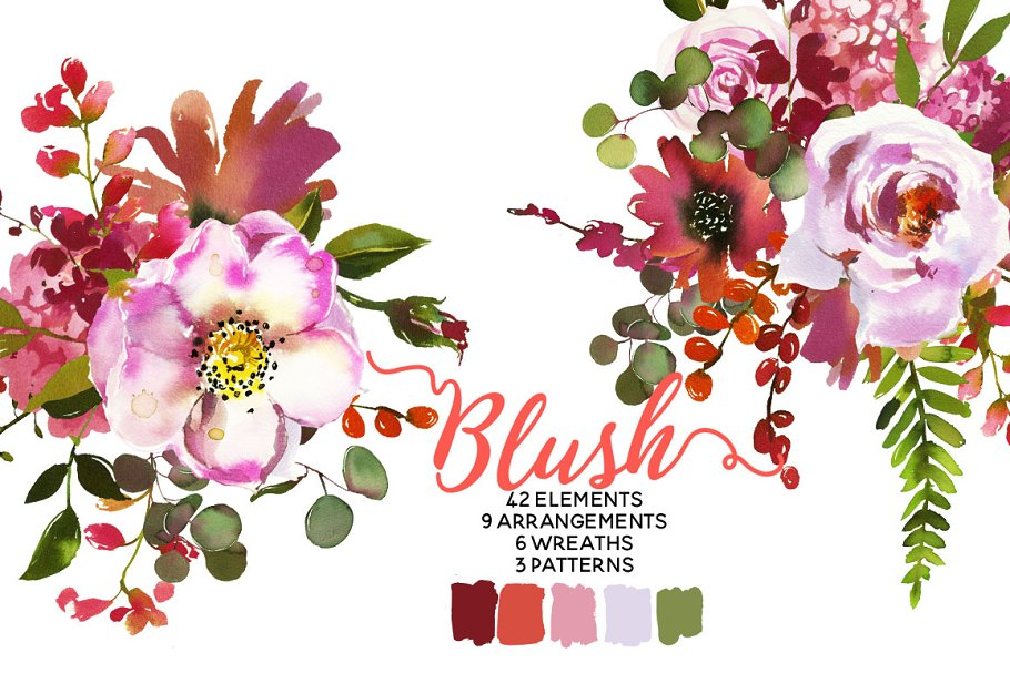 16f8f6ab87e214 Blush Pink Coral Watercolor Flowers ~ Illustrations ~ Creative Market