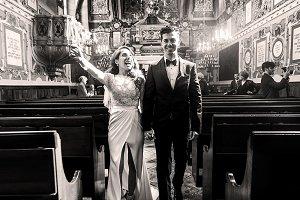Happy brides in the synagogue