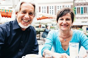 Senior Couple Enjoying A Cup Of Coffee, T�bingen, Germany