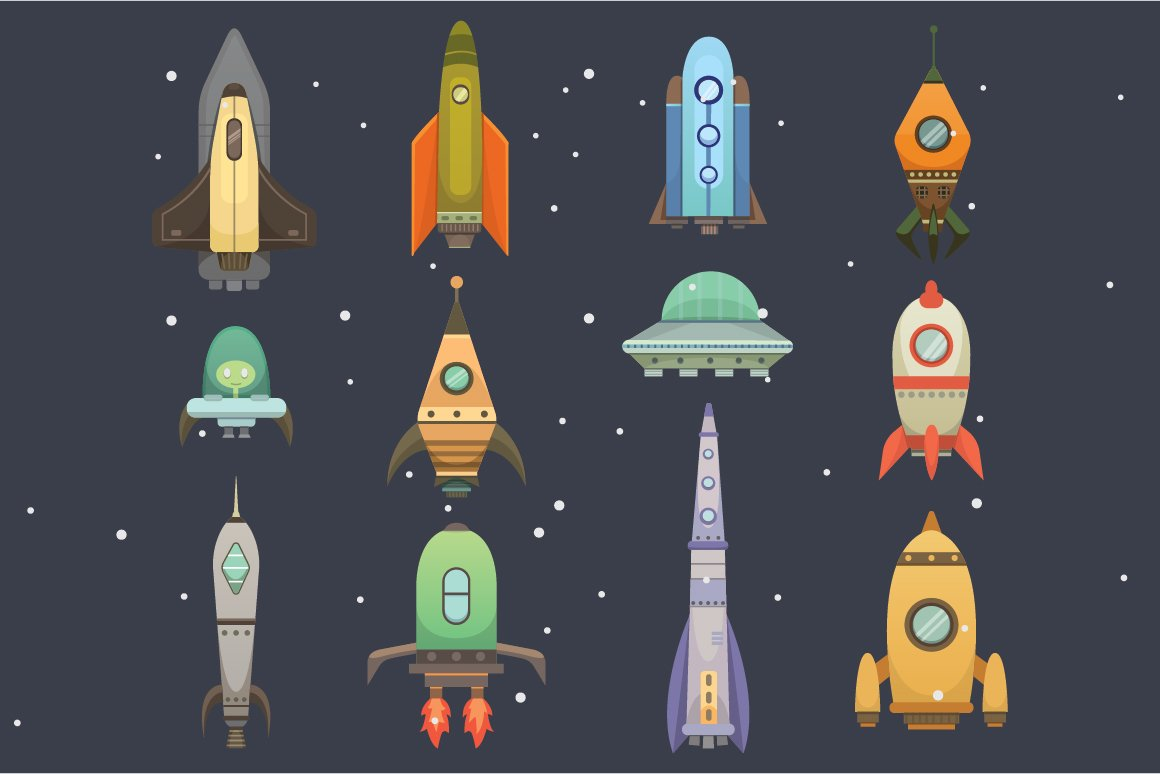 Rocket Ship In Cartoon Style.