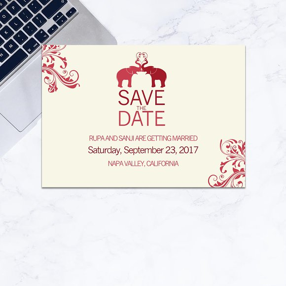 save the date indian wedding invitation templates creative market