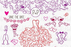 Hand Drawn Wedding Photoshop Brushes