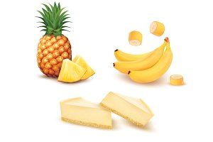 Pineapple, banana and cheesecake.