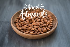 Almonds in a wooden plate