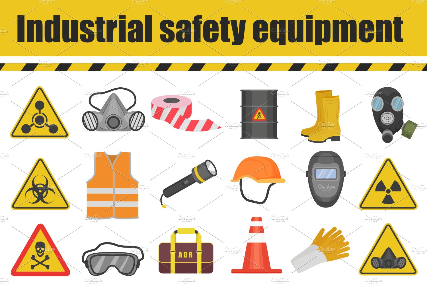 Industrial Safety Equipment Icons Icons Creative Market