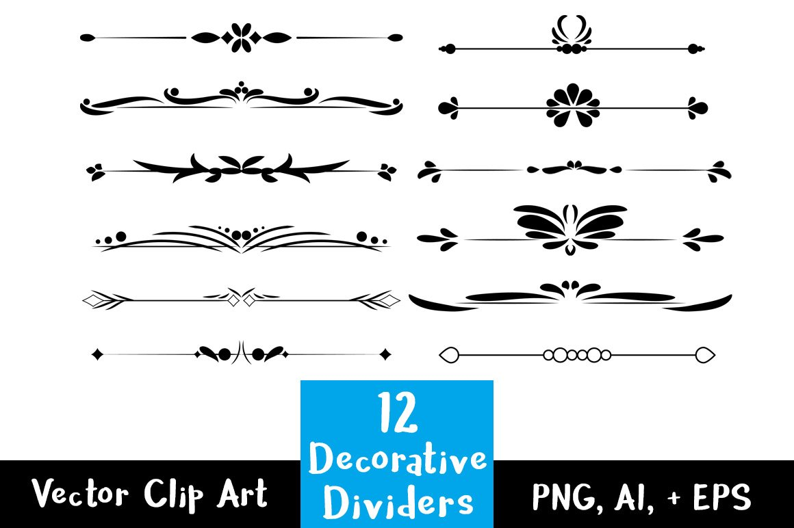 Single Line Text Art : Decorative vintage text dividers illustrations