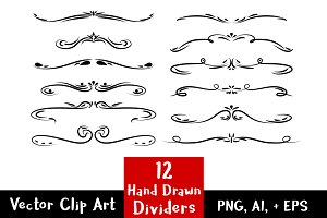 12 Hand Drawn Text Dividers