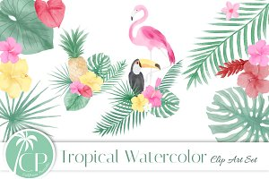 Tropical Watercolor Clip Art Set