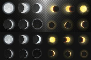 Solar & lunar eclipse phases set