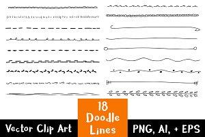 18 Hand Drawn Doodle Lines Set #1