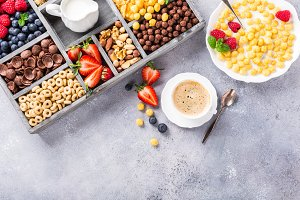Healthy breakfast with coffee and cereals