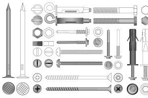 Vector Bolts, Screws, Rivets tools.