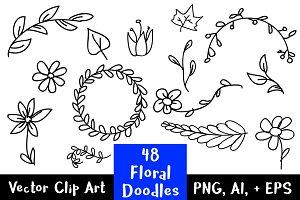 48 Floral Doodles Clip Art