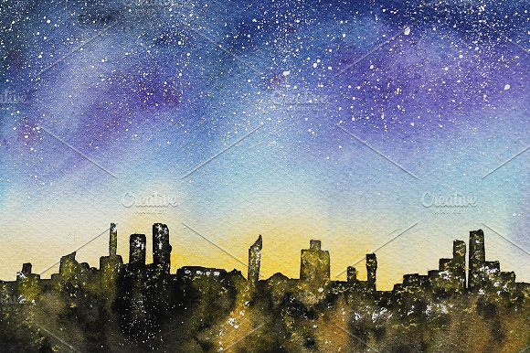 Night in the city, watercolor