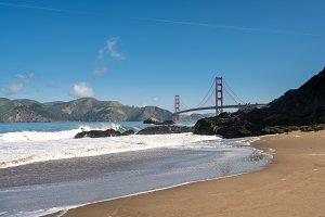 Marin Headlands and Golden Gate Bridge from Baker Beach