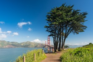 Marin Headlands and Golden Gate Bridge from state park