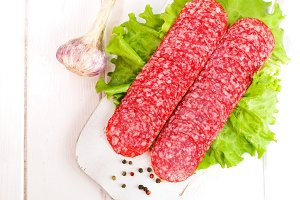 Traditional salami sliced on cutting