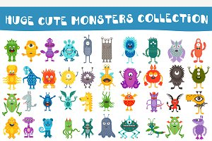 Cartoon cute color monsters aliens