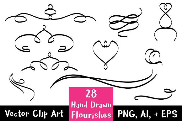 28 Hand Drawn Flourishes