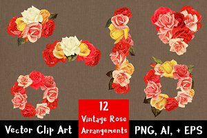 12 Vintage Rose Arrangements