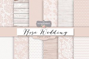 Rose rustic wedding digital paper