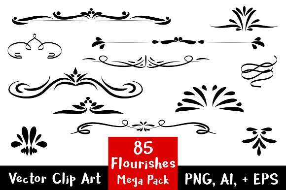 85 Flourishes- Clip Art Mega Pack in Illustrations