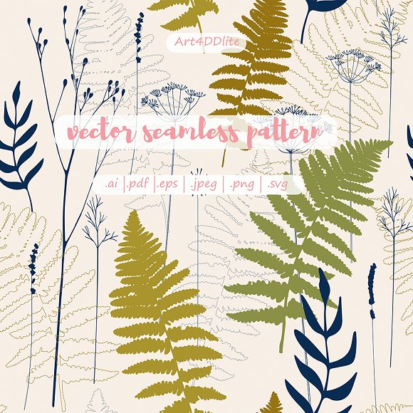 Fern leaves, lavender and dill  in Patterns - product preview 3