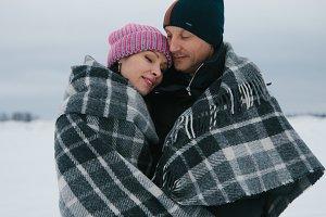 Couple snowy adventure