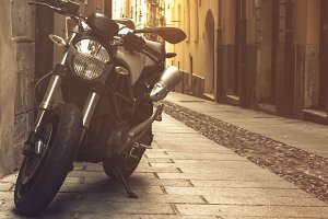 European Street with Black Motocycle