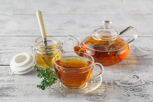 thyme tea with fresh bunches thyme