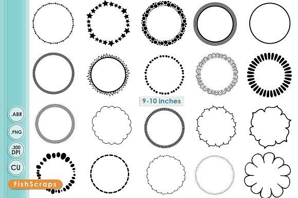 Simple Circle Border PNG Frames ~ Brushes ~ Creative Market