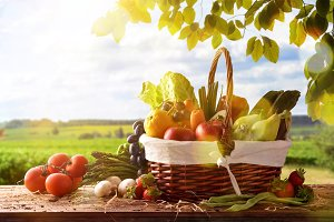 Fruits & vegetables on table nature