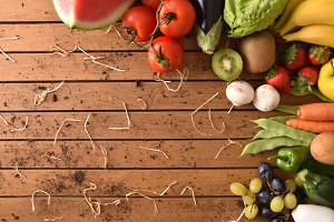Fruits vegetables on wood table top