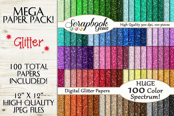 100 Colors Glitter Papers