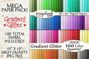 100 Colors Glitter Ombre Papers