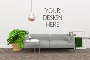 Blank wall - living room mockup