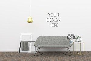 Living room mockup -poster frame