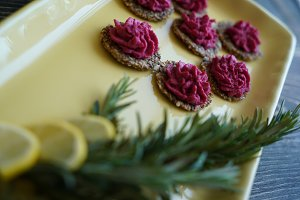 Beetroot Hummus on Organic Crackers