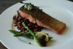 Wild Salmon with Thyme Butter Entrée